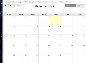 In Game Calendar
